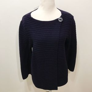 Premise Size L Cardigan Sweater Solid Navy Modern